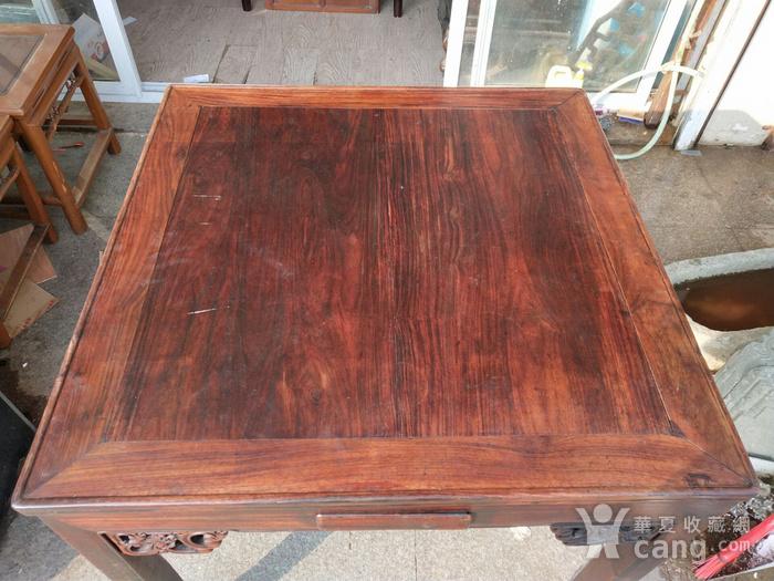非常漂亮红酸枝方桌 龙头插角图4