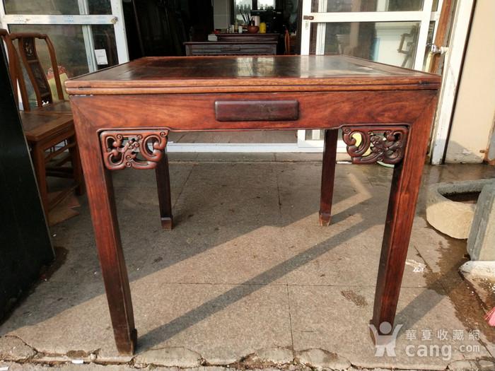 非常漂亮红酸枝方桌 龙头插角图5
