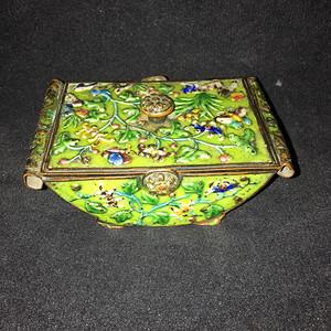 景泰蓝船型章盒