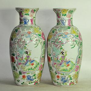 粉彩大瓷瓶一对