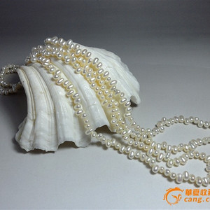 天然淡水珍珠超长项链!白色强珠光 米圆形珍珠!
