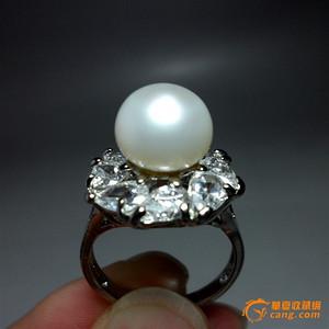 天然璀璨大珍珠戒指!18K镀金镶嵌锆钻!