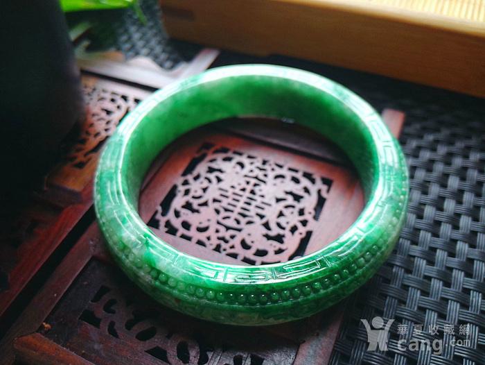 冰润满绿精雕宽边手镯图7