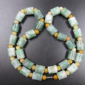 翡翠玉 桶珠项链 保真