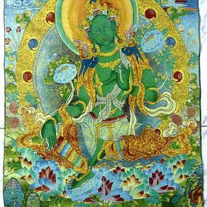 绿度母唐卡! 90CM 高尼泊尔织锦画!