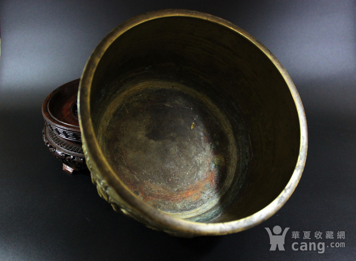 重点 清乾隆17世纪 铜鎏金龙纹三足炉图3