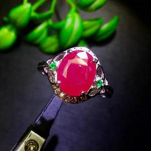 天然缅甸无烧红宝石戒指送证书