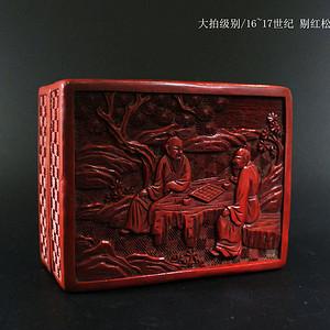 大拍级别 16 17世纪 剔红松下人物盖盒