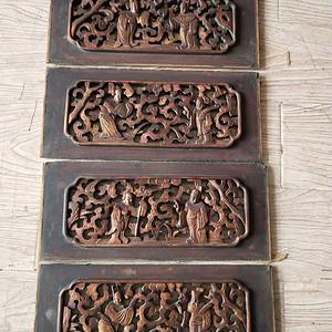 一套非常漂亮的镏金楠木人物板