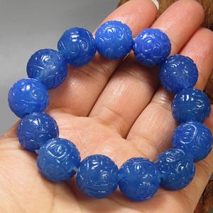 回流民国 宝石蓝玛瑙 如意头纹饰 圆珠 手串 精美莹润