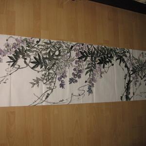 六尺对开国画,紫云。北京王培东作品180 48.5厘米