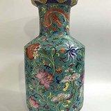 本金珐琅彩花卉龙纹爆竹瓶