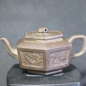 80年代六方龙凤紫砂壶