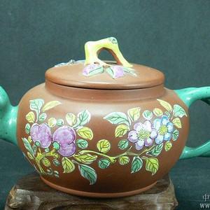 晚清绶馥款福桃加彩紫砂壶