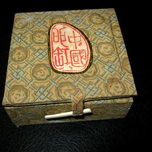 50年代手绘青花印泥盒