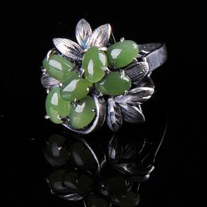 欧美回流 老纯银镶嵌碧玉花卉型戒指