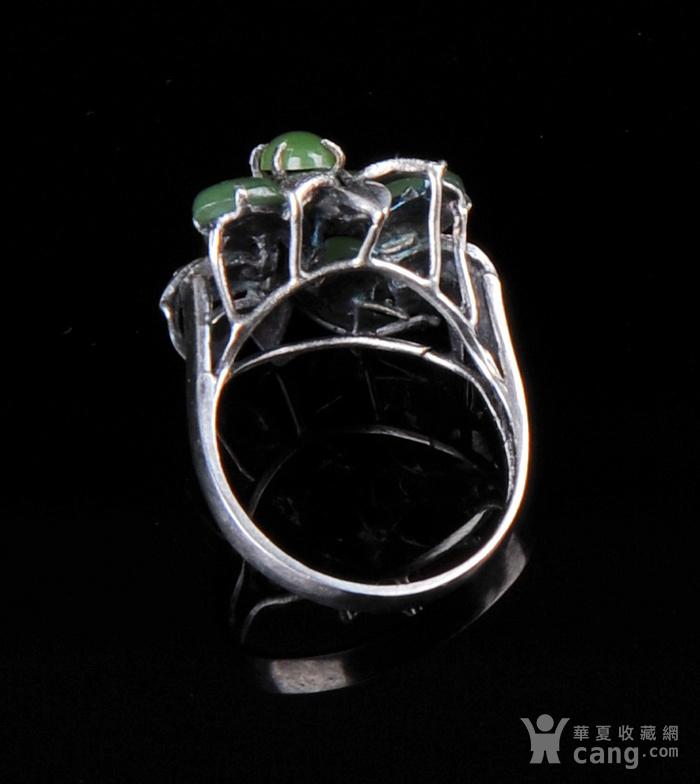 欧美回流 老纯银镶嵌碧玉花卉型戒指图3