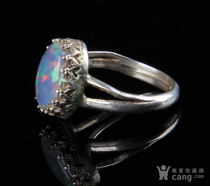 欧美回流 老蓝欧珀纯银戒指图2