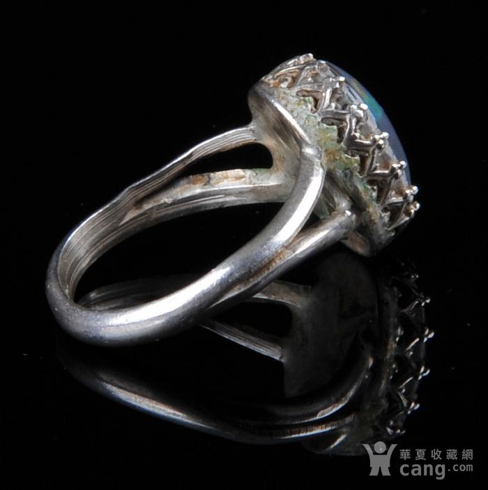 欧美回流 老蓝欧珀纯银戒指图4
