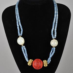 欧美回流 老剔红团寿珠吊坠时装项链