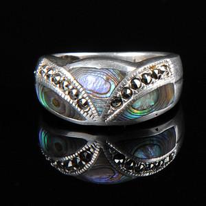 欧美回流 漂亮老纯银镶嵌螺钿戒指