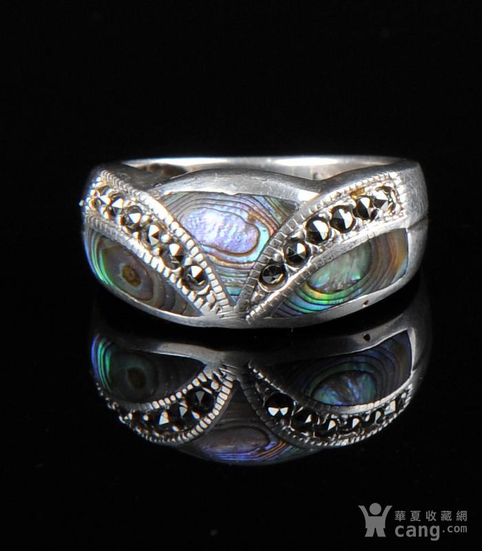 欧美回流 漂亮老纯银镶嵌螺钿戒指图1