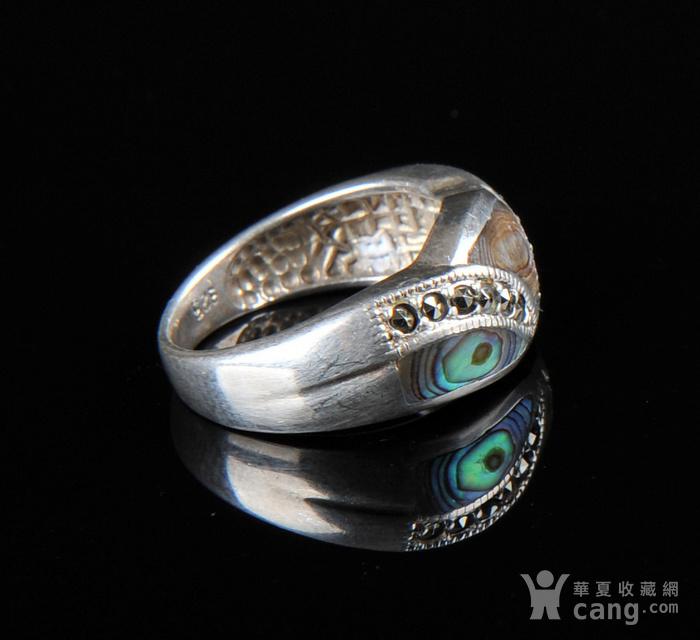 欧美回流 漂亮老纯银镶嵌螺钿戒指图4