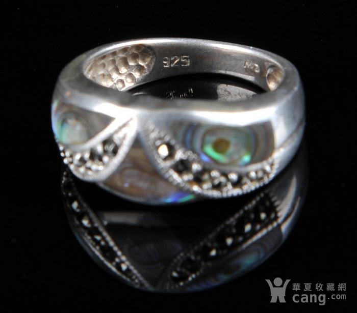 欧美回流 漂亮老纯银镶嵌螺钿戒指图7