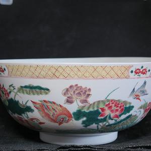 清代25cm同治和和美美粉彩大碗