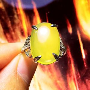 完美无瑕!波罗的海纯天然原矿无优化蜜蜡金绞蜜大蛋纯银戒指!