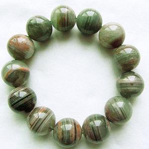90.55克绿幽灵千层山!巴西进口纯天然红绿彩幽灵水晶大圆珠财神手串!