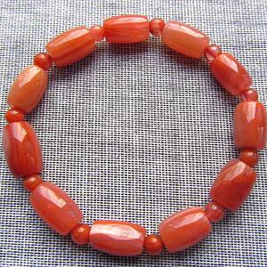 四川柿子红!天然原矿南红玛瑙缠丝柿子红玛瑙手链!