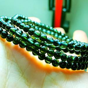 巴西老料玻璃体全通透绿碧玺圆珠多圈水晶手链!