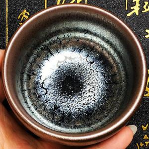 国家非物质文化建阳建盏建窑茶盏油滴紫金色禅定杯建盏主人茶杯!