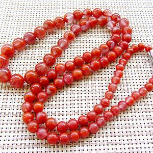 四川南红玛瑙!满红樱桃红纯天然原矿冰种南红高档圆珠项链!
