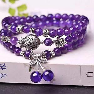 天然紫水晶三圈手链假一赔万