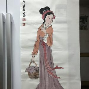 现代国画 村姑图