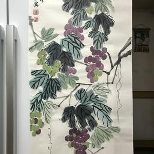 现代国画 葡萄藤图