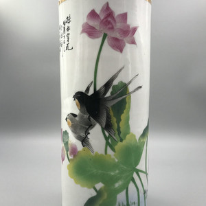 民国瓷画馆 刷花花鸟帽筒