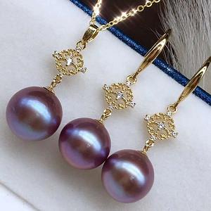 天然紫珍珠套装假一赔万 无烤色 18k金镶嵌