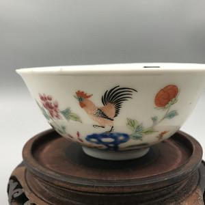 民国官窑 洪宪款三公图茶碗