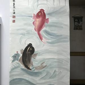 现代国画  鲤鱼跳龙门图