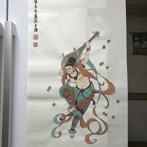 现代国画 仿大千反弹琵琶图