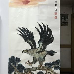 现代国画 雄鹰展翅图
