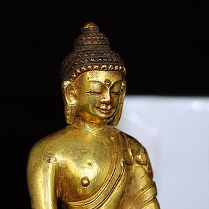 清鎏金释迦牟尼佛造像 已加精