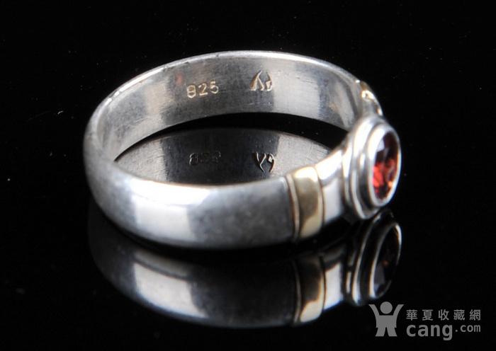 欧美回流 漂亮老纯银镶石榴石戒指图6
