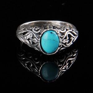 欧美回流 精美镂花老纯银镶绿松石戒指