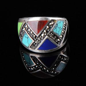 欧美回流 漂亮老纯银镶松石青金玛瑙戒指