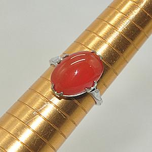 2.3克镶红玛瑙戒指