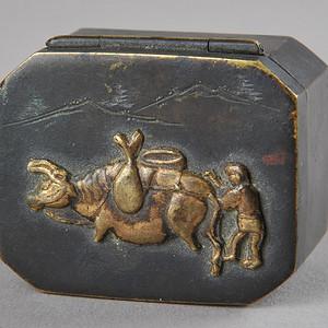 欧美回流 爆老铜质小盒一件
